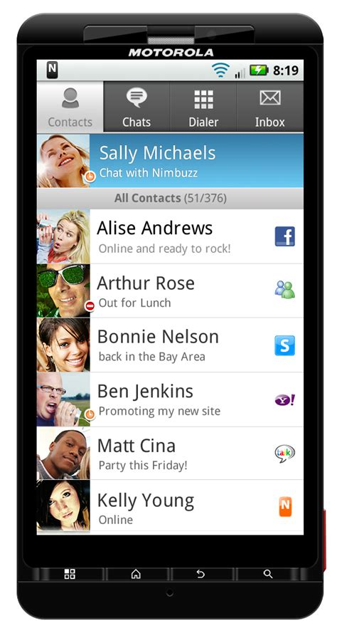 contacts app for android nimbuzz 2 0 available for android android central