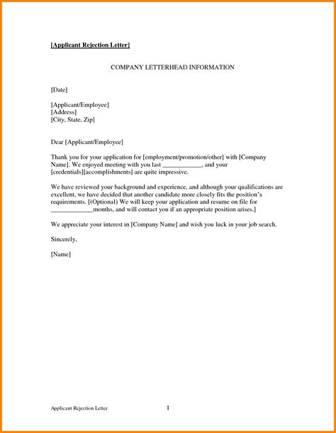 Internship Rejection Letter Reply 16 Rejection Letter Sle To Applicant Ledger Paper