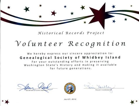 volunteer recognition certificate template exles of volunteer certificates pictures to pin on