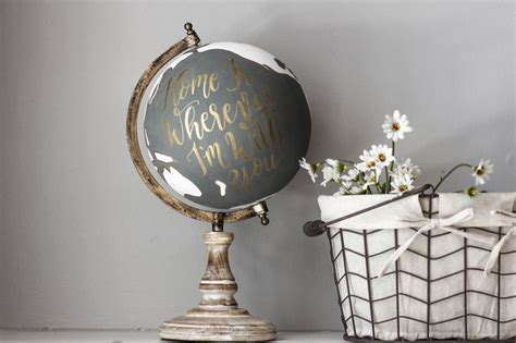 world globe home decor home is wherever i m with you large gray and white