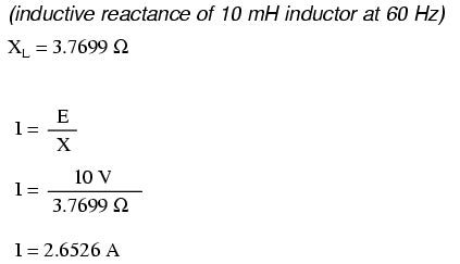 what is the inductive reactance of an inductor that drops 12 vrms and carries 50 marms inductive reactance