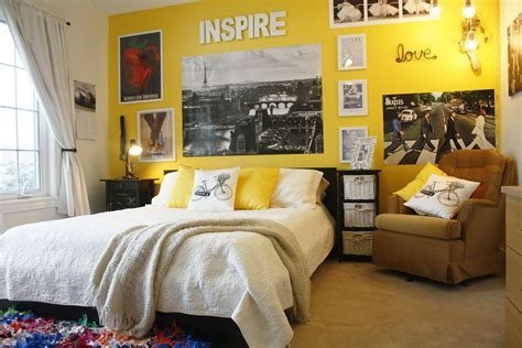 brigt yellow paint colors for a bedroom with a brown club chair artenzo