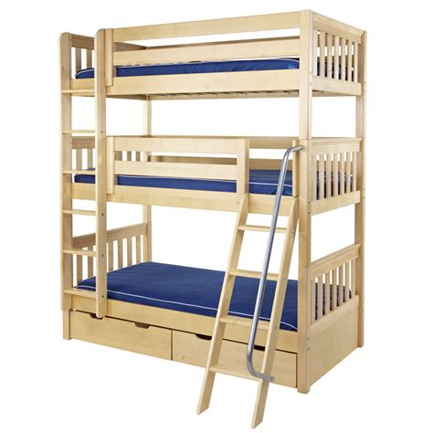 Maxtrix Moly Triple Bunk Bed In Natural Slat Bed Ends 850 Bunk Beds