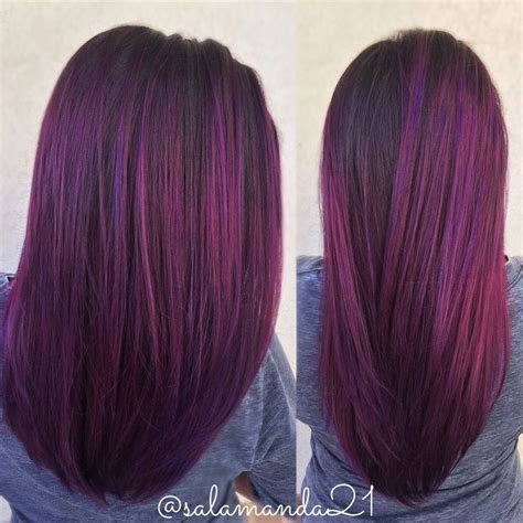 Jepit Rambut Ombre Hair Extension Eggplant Purple 17 best ideas about purple highlights on purple balayage purple highlights and
