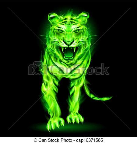vector of green fire tiger. agressive green fire tiger