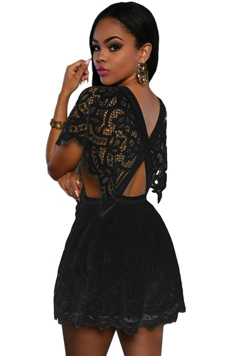 Lace Top Romper new stylish black lace sheer top romper
