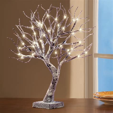frosted led lighted tabletop tree collections
