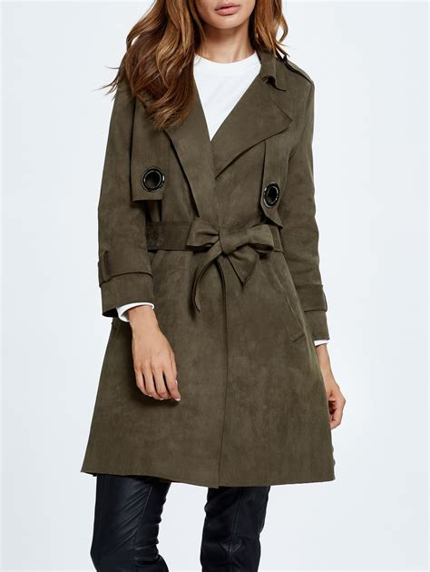 draped trench coat coats army green sueded draped trench coat gamiss