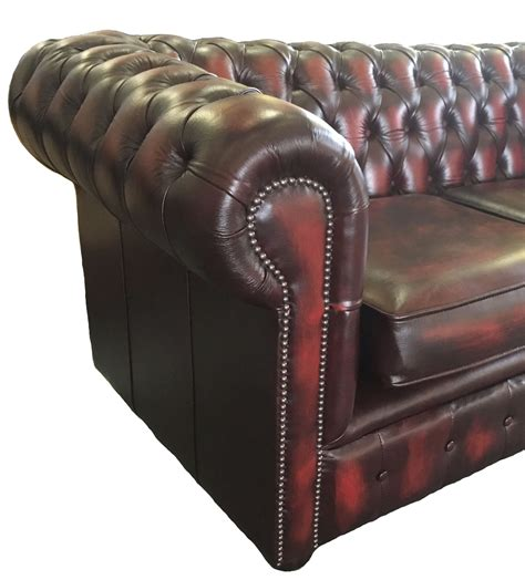 Genuine Leather Sofa Bed Traditional Chesterfield Two Seater Sofa Bed Genuine Leather Antique Oxblood Ebay