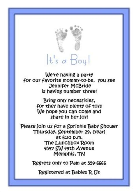 Baby Shower For 3rd Baby by 3rd Baby Boy Shower Invitations Wording Boy Footprints