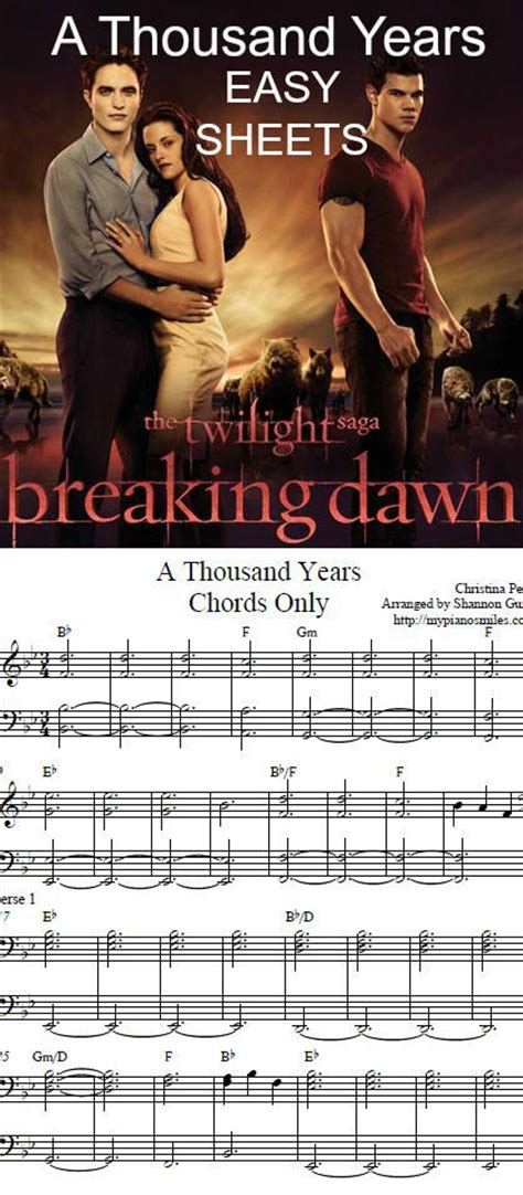 tutorial keyboard a thousand years 1k final easy sheets piano sheet music pinterest
