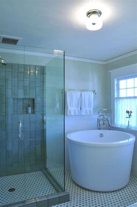 bathroom deep  small corner porcelain tub planted