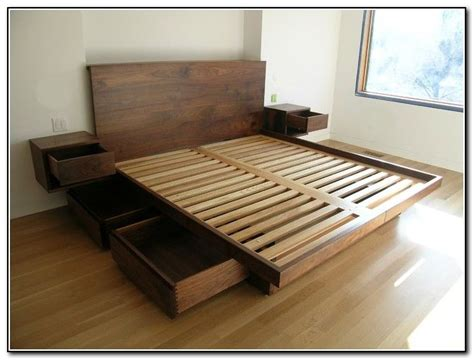 how to build bed frame and headboard diy platform bed with storage drawers plans quick