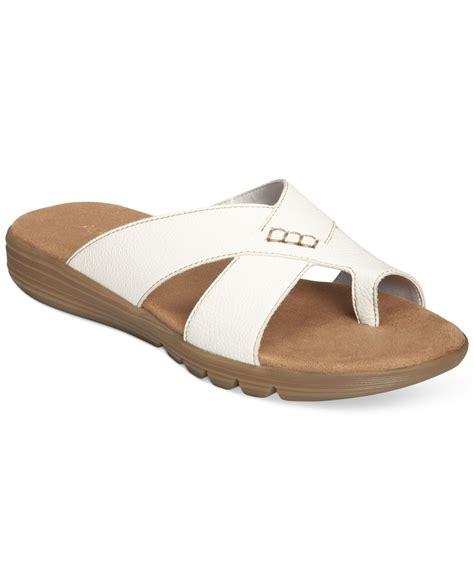 white sandals flat aerosoles adjustment flat sandals in white lyst