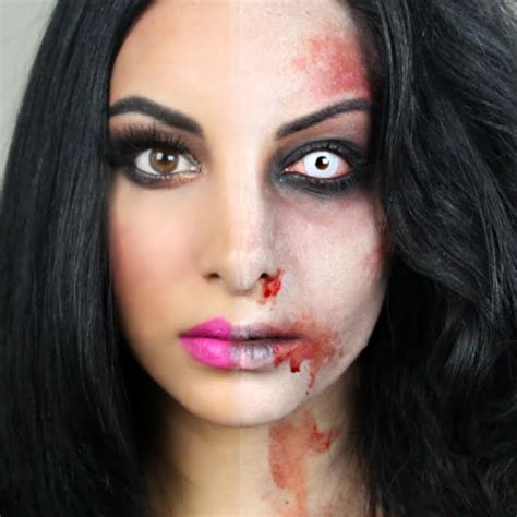 eyeliner tutorial for halloween half zombie halloween makeup tutorial by naseem d preen me