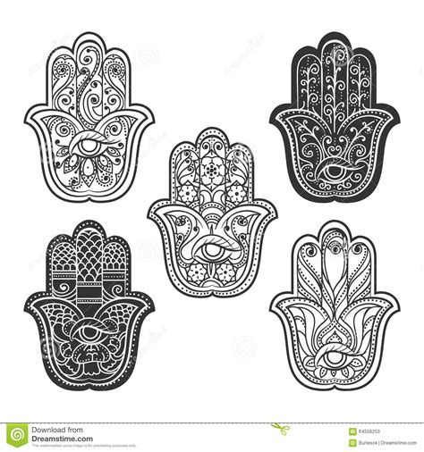 indian hamsa hand with eye stock vector image 64556253