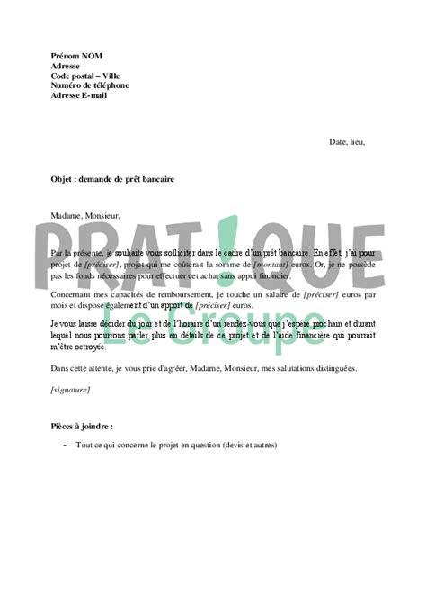 lettre 224 la banque demande de pr 234 t bancaire pratique fr