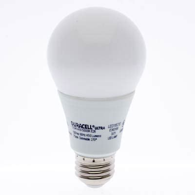 duracell ultra led a19 light bulb led11821 duracell ultra 5 5w dimmable a shape a e26