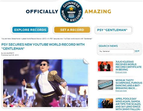 Records Website Psy Breaks Another Guinness World Record With Gentleman