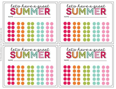 punch card templates for students activities summer punch cards