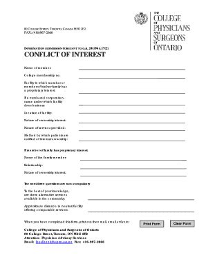 conflict of interest declaration template fillable conflict of interest declaration form