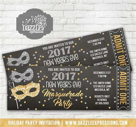 printable ball tickets printable glitter new years even masquerade ticket