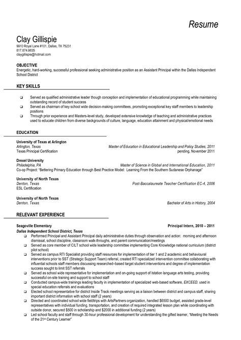 Resume Templates For School Principal Resume And Vice Principal Vice Principal Resume Sle