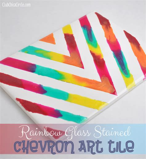 cool at home crafts rainbow glass stained art tile project