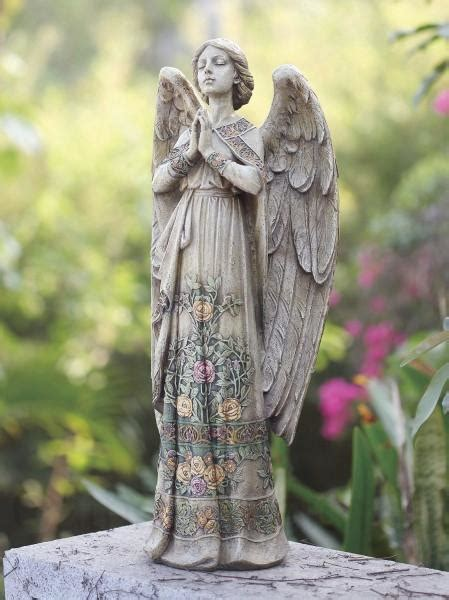 praying angel garden statue  floral accents