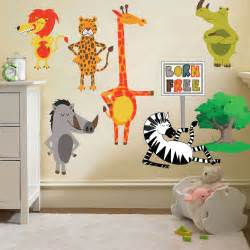 Nursery Wall Stickers Jungle Childrens Born Free Animals Jungle Wall Stickers Decals