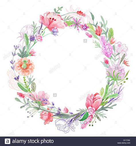 round floral designs creative summer round border with wild red pink and