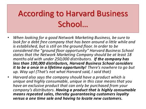 Harvard Mba Marketing by Caregivers You Considered A Network Marketing Business