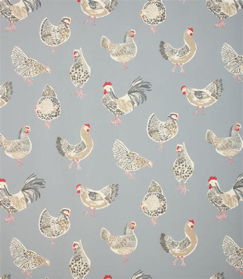 Rooster Upholstery Fabric by Rooster Clarke Fabric Denim Just Fabrics