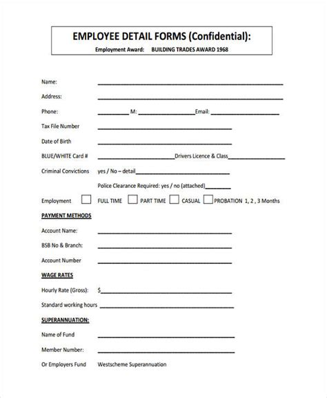 employee details form resume template sle