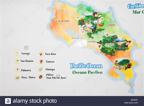 Cafe Britt's Coffee Farm, Map of Coffe Regions, near Barva de Stock Photo, Royalty Free Image