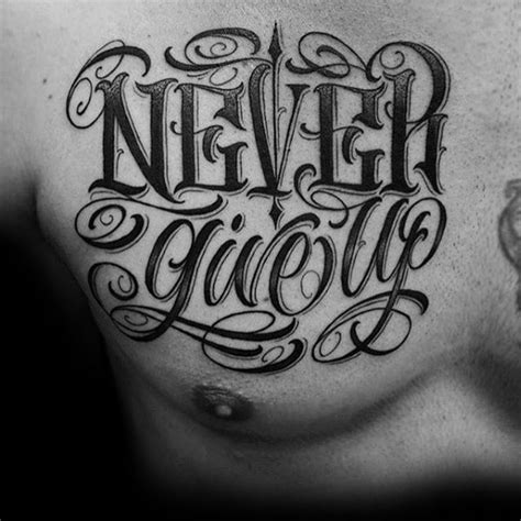 tattoo lettering never give up 60 typography tattoos for men word font design ink ideas