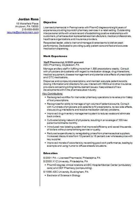How To Write A Pharmacist Resume by Pharmacist Cv R 233 Sum 233 Template Exle How To Write A Cv