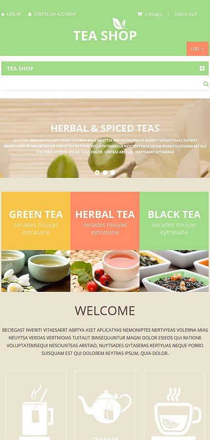 shopify themes tea food store shopify template