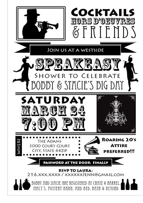 Speakeasy Party Invitation Speakeasy Cocktail Party Pinterest Speakeasy Invitation Template Free