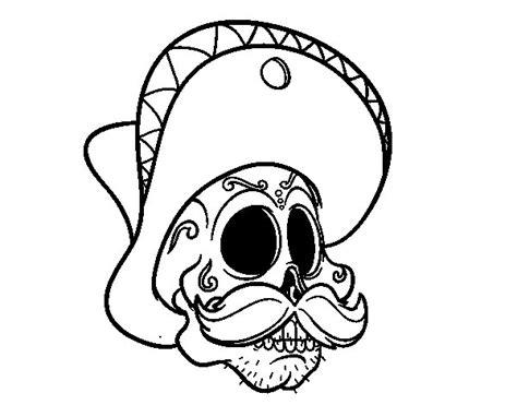 fotos de calaveras para imprimir dibujo de calavera mejicana con bigote para colorear
