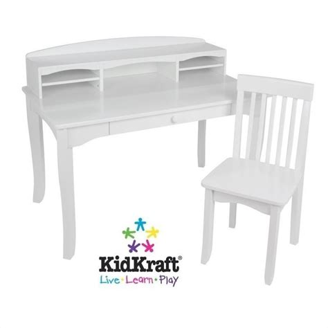 Kidkraft Avalon Kids Desk With Hutch And Chair In White White Children Desk