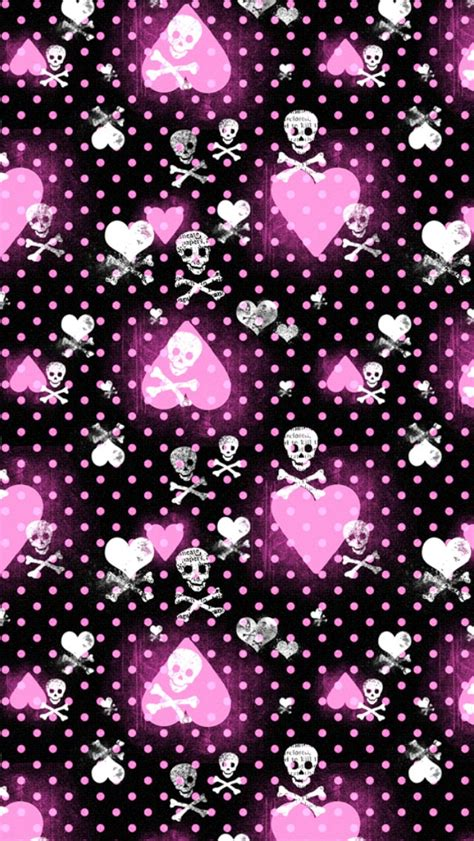 iphone wallpaper girly skull pink heart and skull patterns wallpaper free iphone