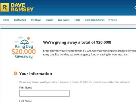 Dave Ramsey Giveaway - the dave ramsey 20 000 rainy day giveaway sweepstakes sweepstakes fanatics