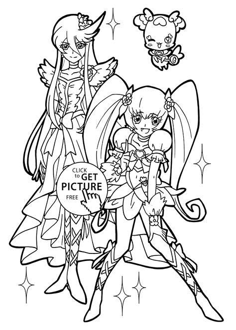 pretty cure characters anime coloring pages for kids printable free nice girl from pretty cure coloring pages for kids