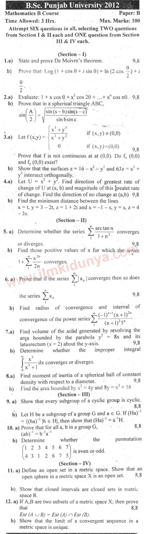 Past Papers 2012 Punjab University BSc Mathematics B ... B-paper