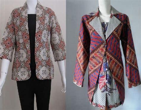 blazer batik panjang 23 model blazer batik wanita panjang dan modis elegantria