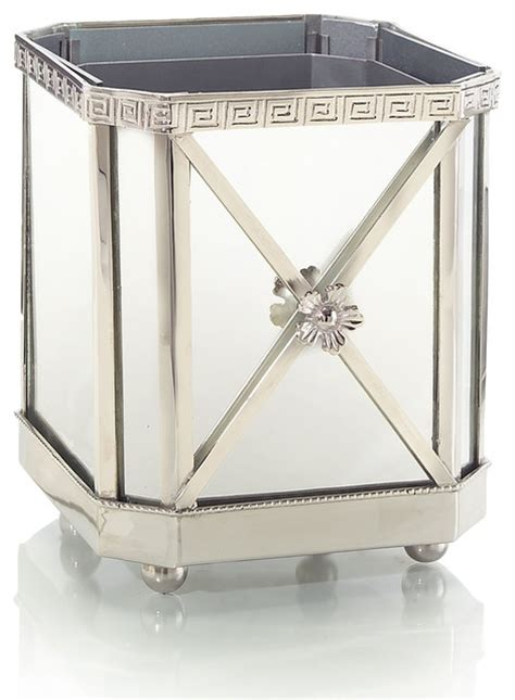 Silver Planter Pots silver and mirror planter transitional indoor pots and planters by bliss home design