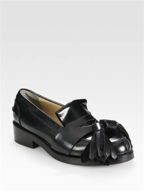 black tassel loafers for acne studios leather oversized tassel loafers in black lyst