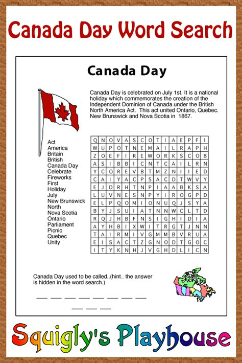 Search For In Canada Canada Day Word Search