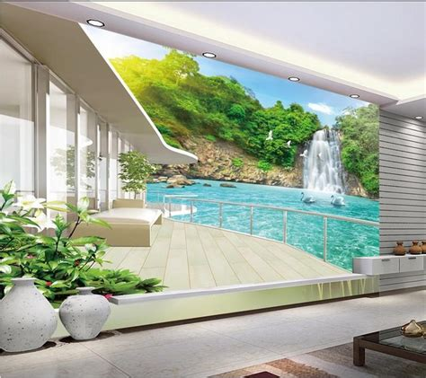 modern mural modern wall 3d murals wallpaper beautiful waterfall